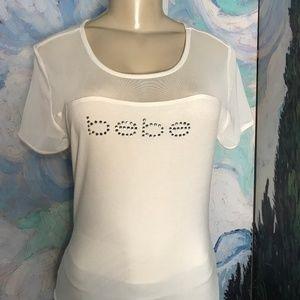 Bebe L White Logo Studded  Mesh Short Sleeve Top